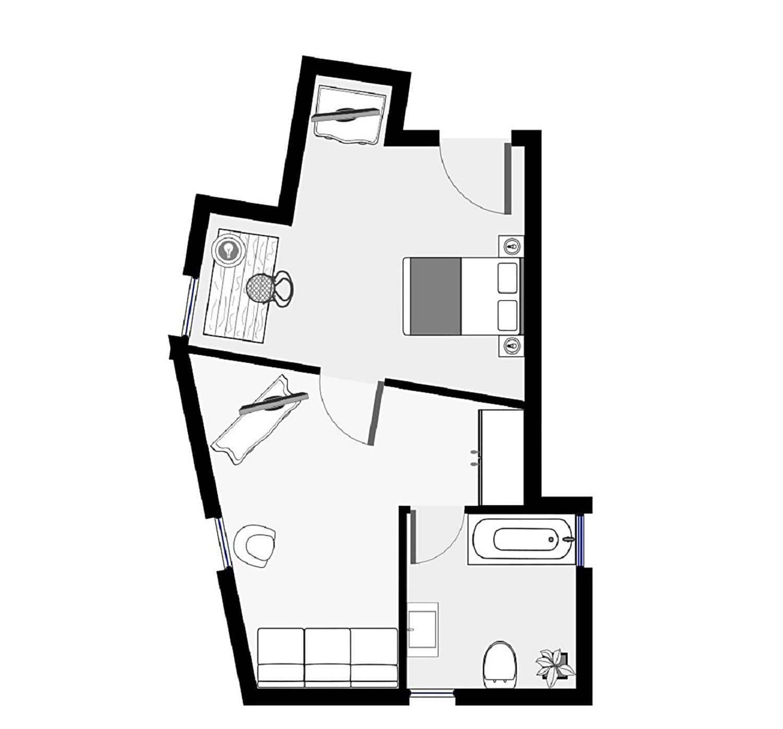 Grundriss Dachgeschoss Dreibettzimmer