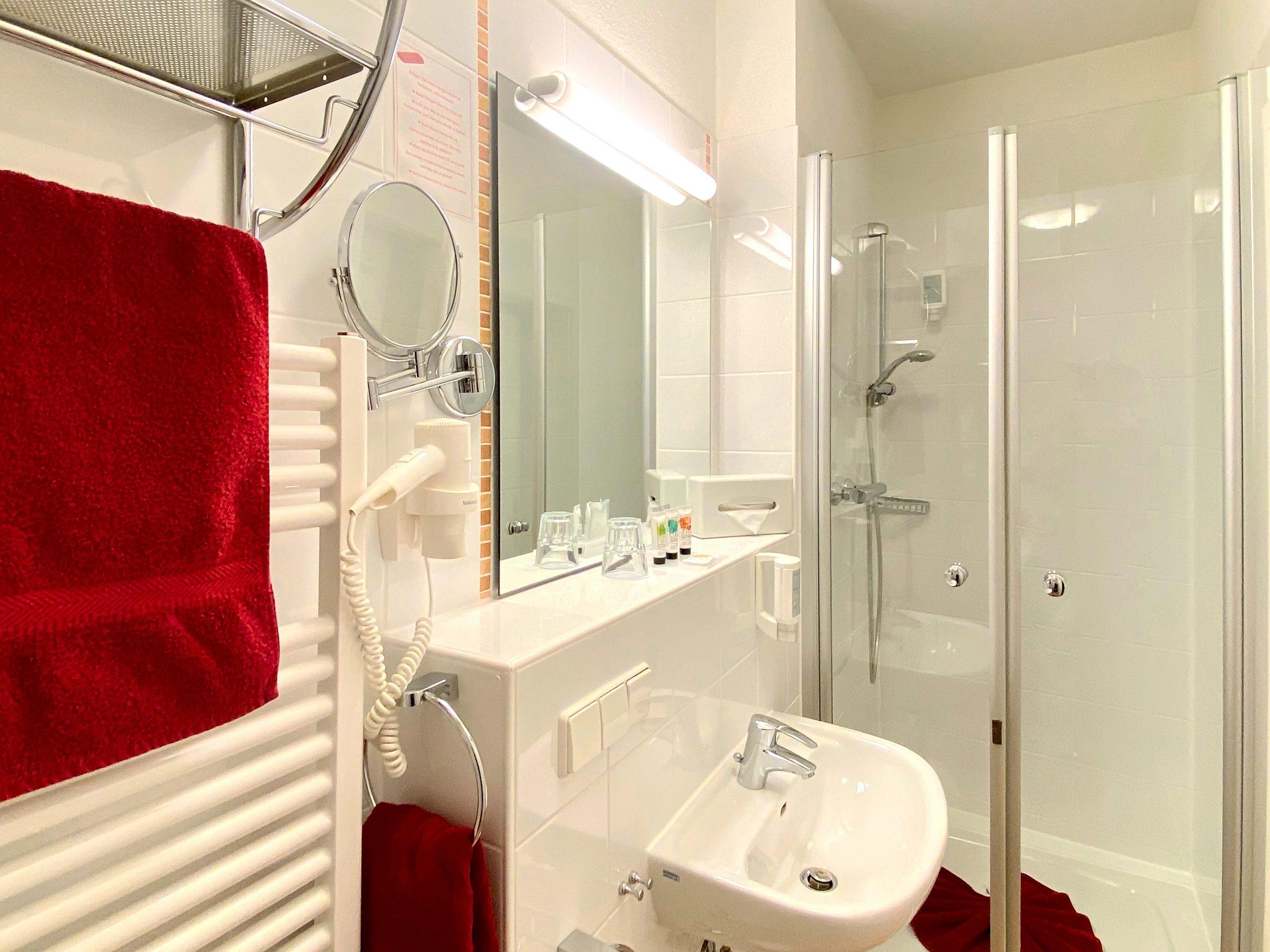 Einzelzimmer im Erdgeschoss Einrichtungsdetail Dusche
