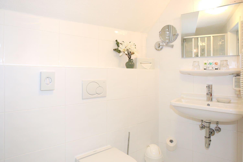 Grüne Suite 2 Obergeschoss Badezimmer und Dusche