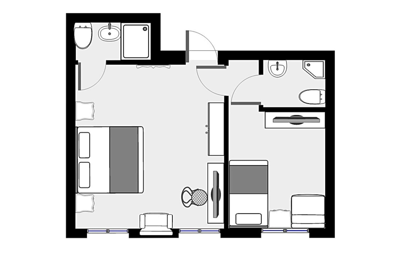 Plan des Comfort Dreibetzimmers