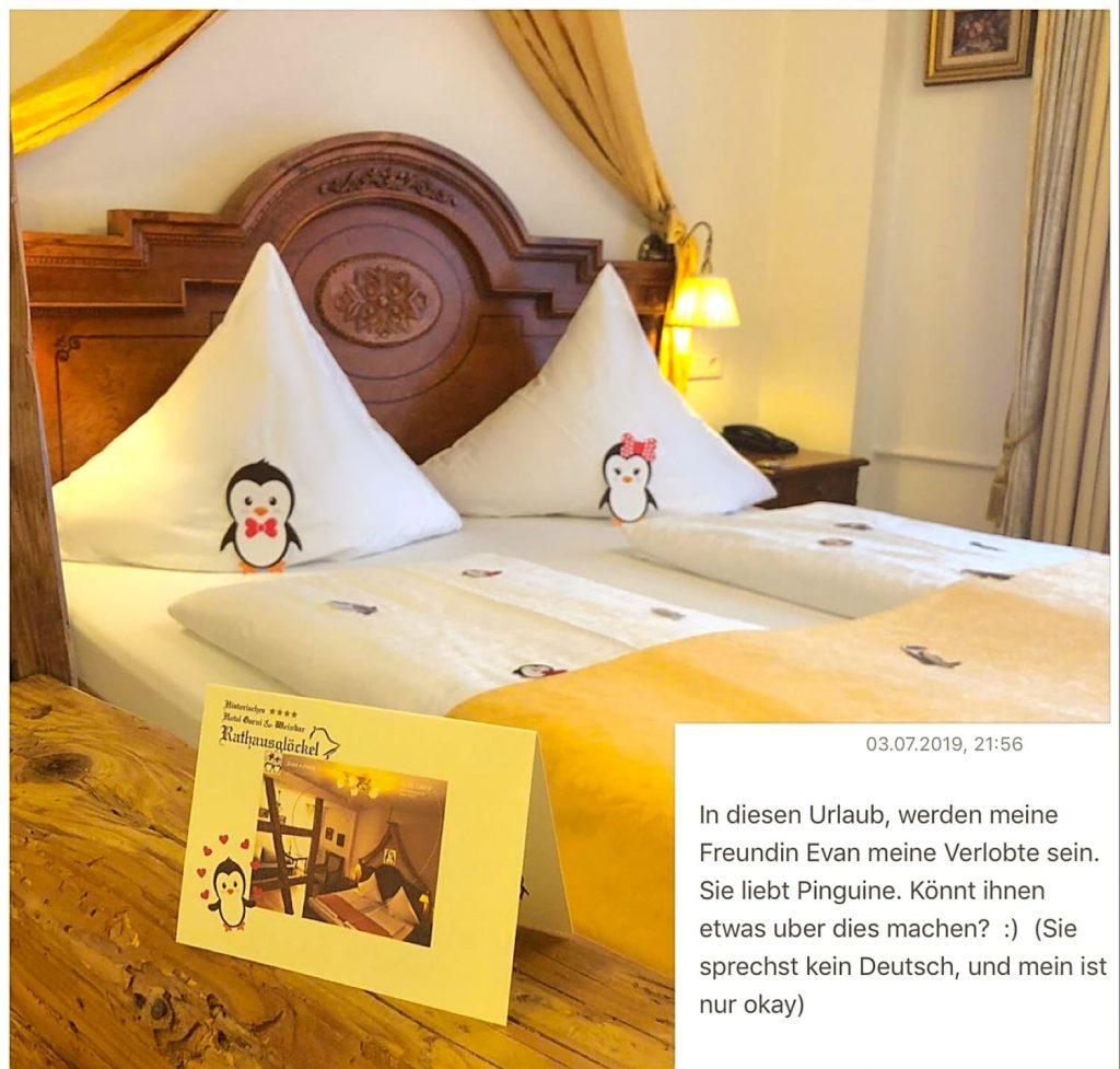 Gutscheine Zimmerdekoration mit Pinguinen